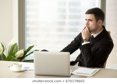 Thoughtful pensive businessman deep thoughts 260nw 670178602