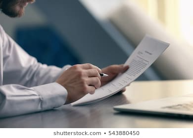 Businessman reading documents 260nw 543880450